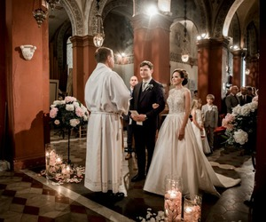 bride and groom, church, and wedding ceremony image