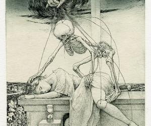 girl, skeleton, and death image