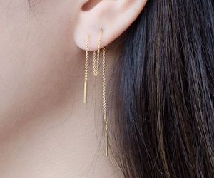 gold, jewelry, and earring image