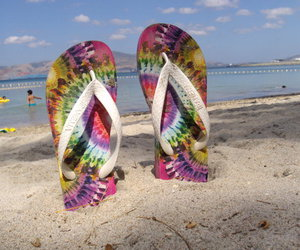 beach, slippers, and feet image