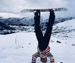 headstand, mountain, and norway image