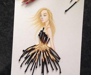 art, dress, and drawing image