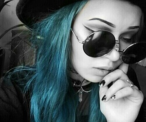 girl, black, and blue image