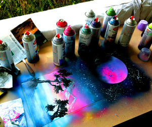art, moon, and colors image