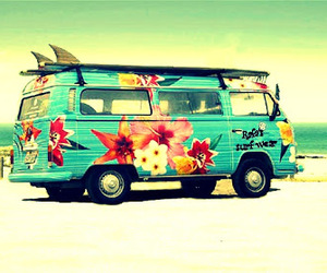 floral, kombi, and vintage image