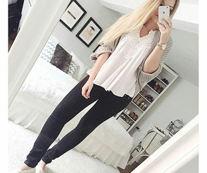 bed, fashion, and outfit image