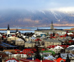 city, iceland, and mountains image