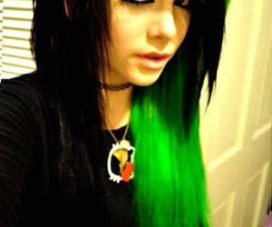 emo, hair, and green hair image