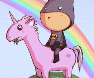 rainbow, batman, and unicorn image