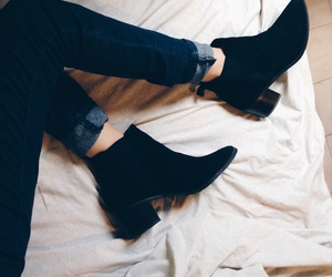 ankle boots, bed, and boho image