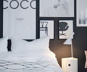 bedroom, black and white, and coco chanel image