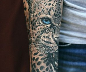 blue, leopard, and tattoo image