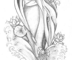 black and white, geisha, and tattoo image