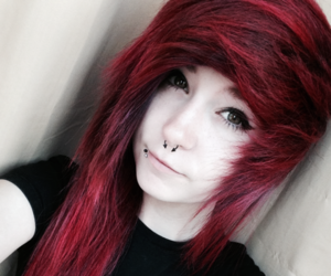 emo, red hair, and scene image
