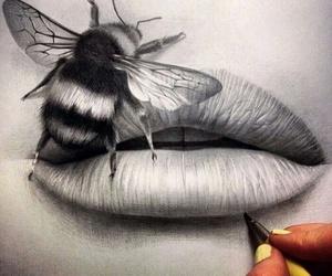 drawing, art, and lips image