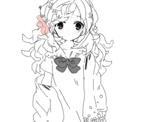 anime girl, black and white, and cute image
