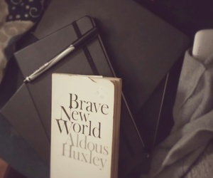 aldous huxley, black, and books image
