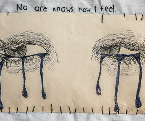 sad, eyes, and art image