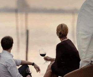 couple, wine, and sunset image