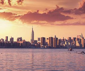 new york, city, and sunset image
