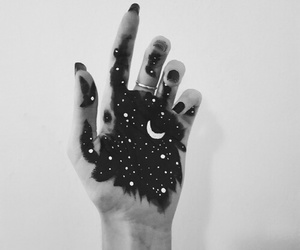 moon, stars, and hand image