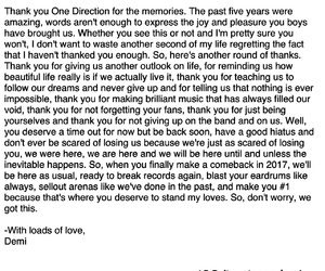 forever, one direction, and thank you note image