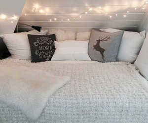 bed, light, and bedroom image