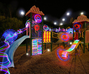 light, playground, and photography image