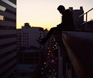 boy, city, and lights image