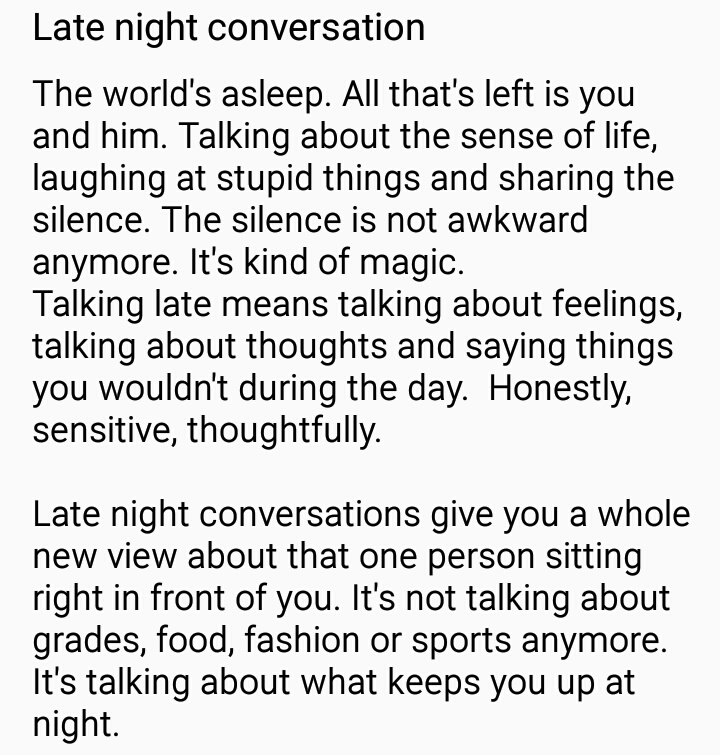 late night conversation