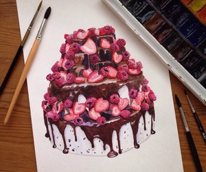art, cake, and drawing image