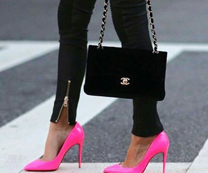 pink, chanel, and heels image