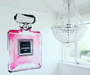 chandelier, girly decor, and perfume canvas image