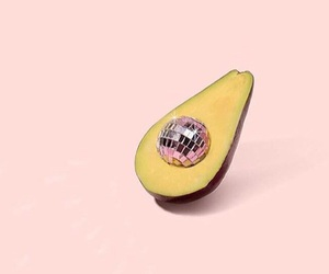 avocado, pink, and disco ball image