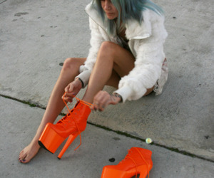 blue hair, fashion, and neon image