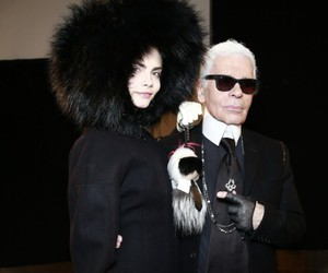 karl lagerfeld., ✨, and cara delevingne. image
