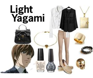 death note, outfit, and light yagami image