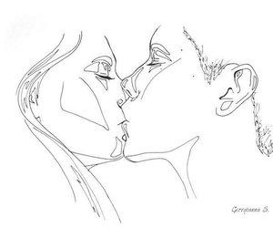 drawing, art, and kiss image