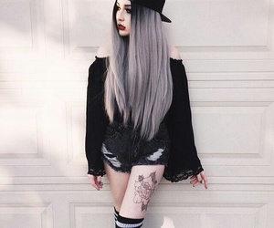 black, hair, and tattoo image
