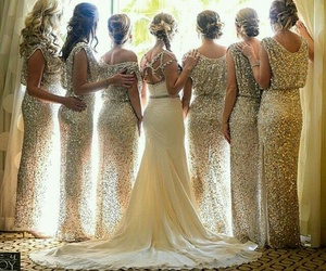 bridesmaids, hairstyle, and wedding dress image