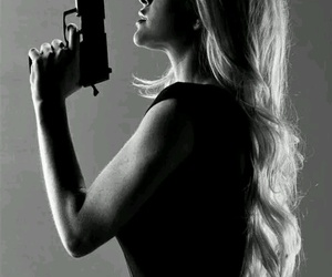 gun, lindsay lohan, and black and white image