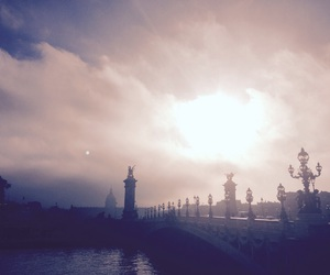 fog, paris, and sun and moon image