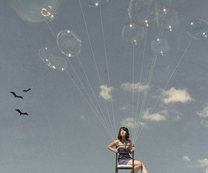 girl, balloons, and fly image