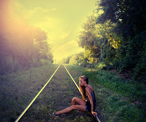 girl and train image