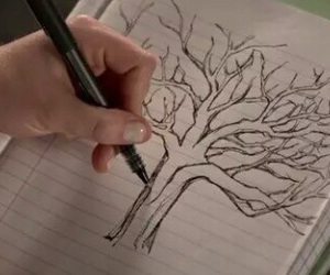 arbre, dessin, and teen wolf image
