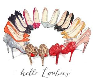 fashion illustration, louboutin, and high heels image