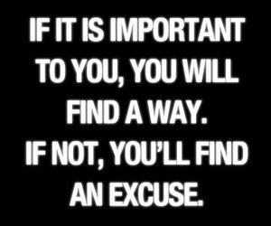 quote, important, and excuse image