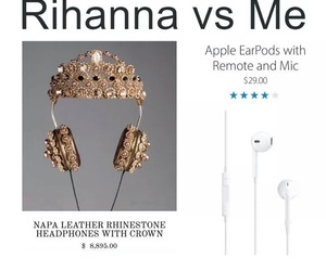 funny, headphones, and rihanna image