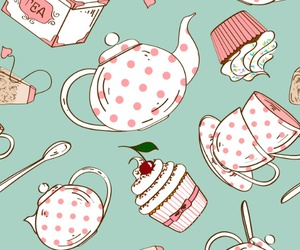 tea, cupcake, and pattern image
