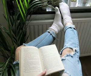 book, jeans, and grunge image
